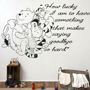 Winnie The Pooh How Lucky I Am Wall Art Quote Vinyl Transfer