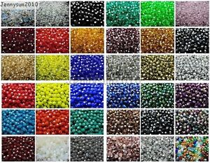 Czech-Crystal-4mm-Faceted-Round-Loose-Beads-For-Bracelet-Necklace-Jewelry-Making