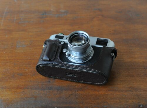 Zhou marrón cuero mitad caso Para Leica Digital M typ240 type240 w//build-in Agarre