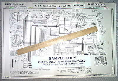 1958 Buick Eight Series 40 4400 Syncromesh Models Aea Wiring Diagram 11x17 Sheet Ebay
