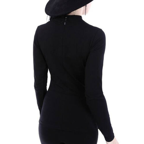 Scarlett Restyle Gothic Goth Okkult Langarm Top Shirt Oberteil Bluse