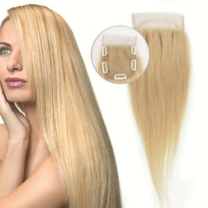 New-613-Blonde-Hand-Made-10X10cm-Clip-in-100-Remy-Human-Hair-Topper-Hairpiece