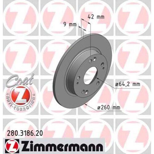 CDTI 260mm voll hinten 2 Zimmermann Bremsscheiben Honda Civic VIII 1.4-2.2