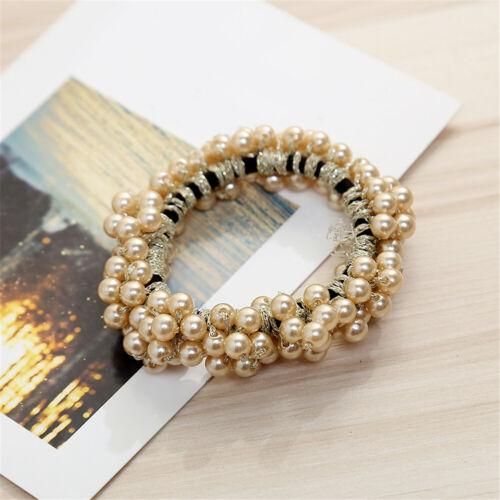 Pearls Beads Hair Ties Elastic Hair Bands For women Scrunchies Ponytail Holders@