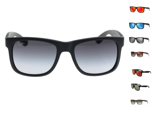 Ray Ban Rb4165 Justin 622 55 Black Rubber Sunglasses Blue