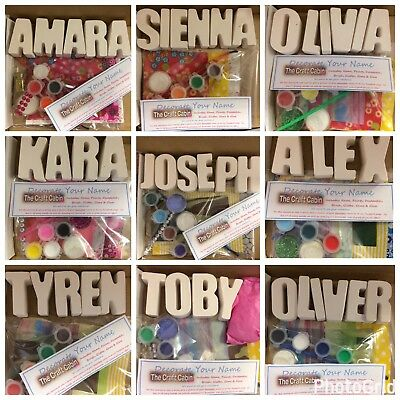 PERSONALISED Decorate Name-Craft Kit-Birthday//Party Bag Filler Eid gift