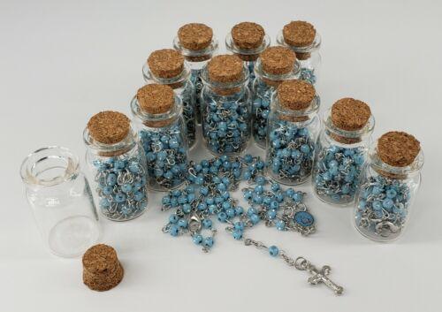 12X Baptism Holy Bible Blue Rosary Bottle Rerecuerdos de Bautizo Communion Favor