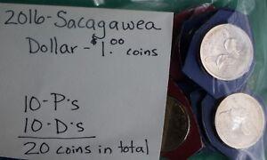 2016-P-E-D-Sacagawea-UN-DOLLARO-MONETA-LOT-OF-20-NATIVI-AMERICANI-10P-10-D