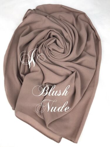 Chiffon georgette Hijab Scarf High Quality Elegant Sarong Shawl Wrap Plain dubai