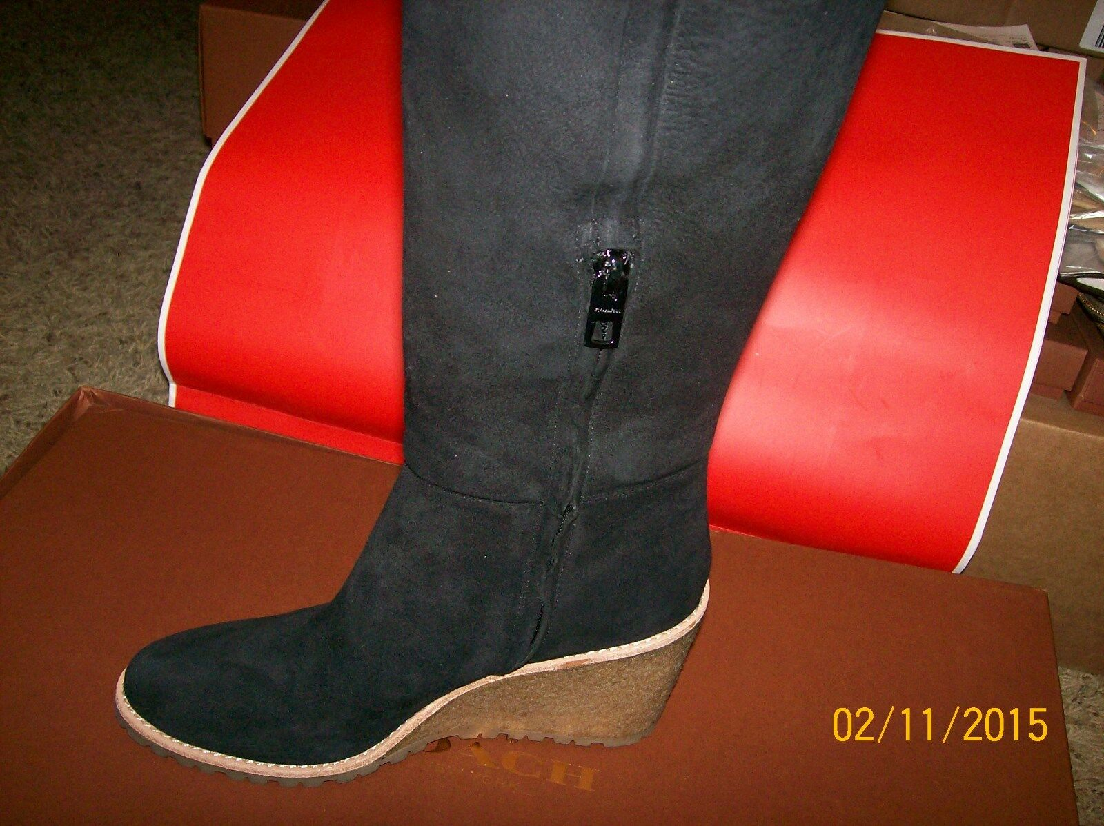 NWB COACH KEELY SHEARLING LINED WEDGE BOOT 8.5M, Q6323/A8200 BLACK- SHIPS