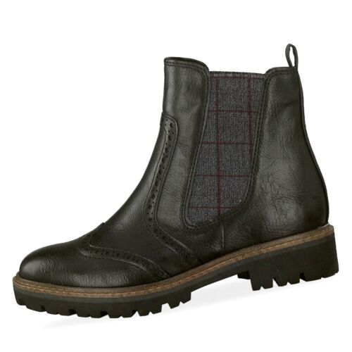 Marco Tozzi Damen Chelsea Boots Stiefeletten Budapester Style Schuhe schwarz