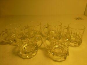 Set of 3 Federal Glass Clear Mini Beer Mug Shot Glasses F in Shield Bottom