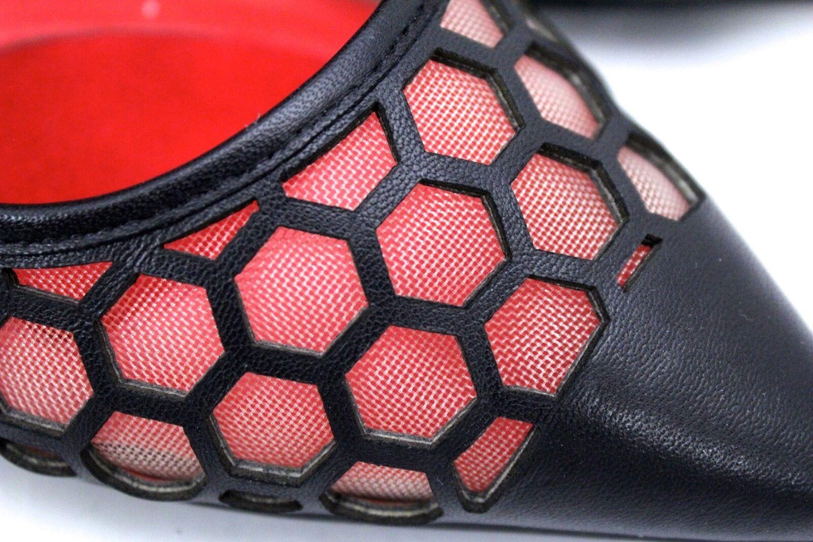 Charles Jourdan Londen Leather Honeycomb Honeycomb Honeycomb Mesh Kitten Heel Pumps 8.5 Black C1670 95c721