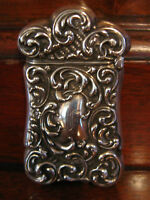 Antique Sterling Silver Match Safe w/ Scrolling Decoration F Monogram Gold Wash