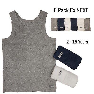 EX NXT 6 Pack Boys Vests Sleeveless Underwear Kids Cotton White Grey Blue  Vest | eBay