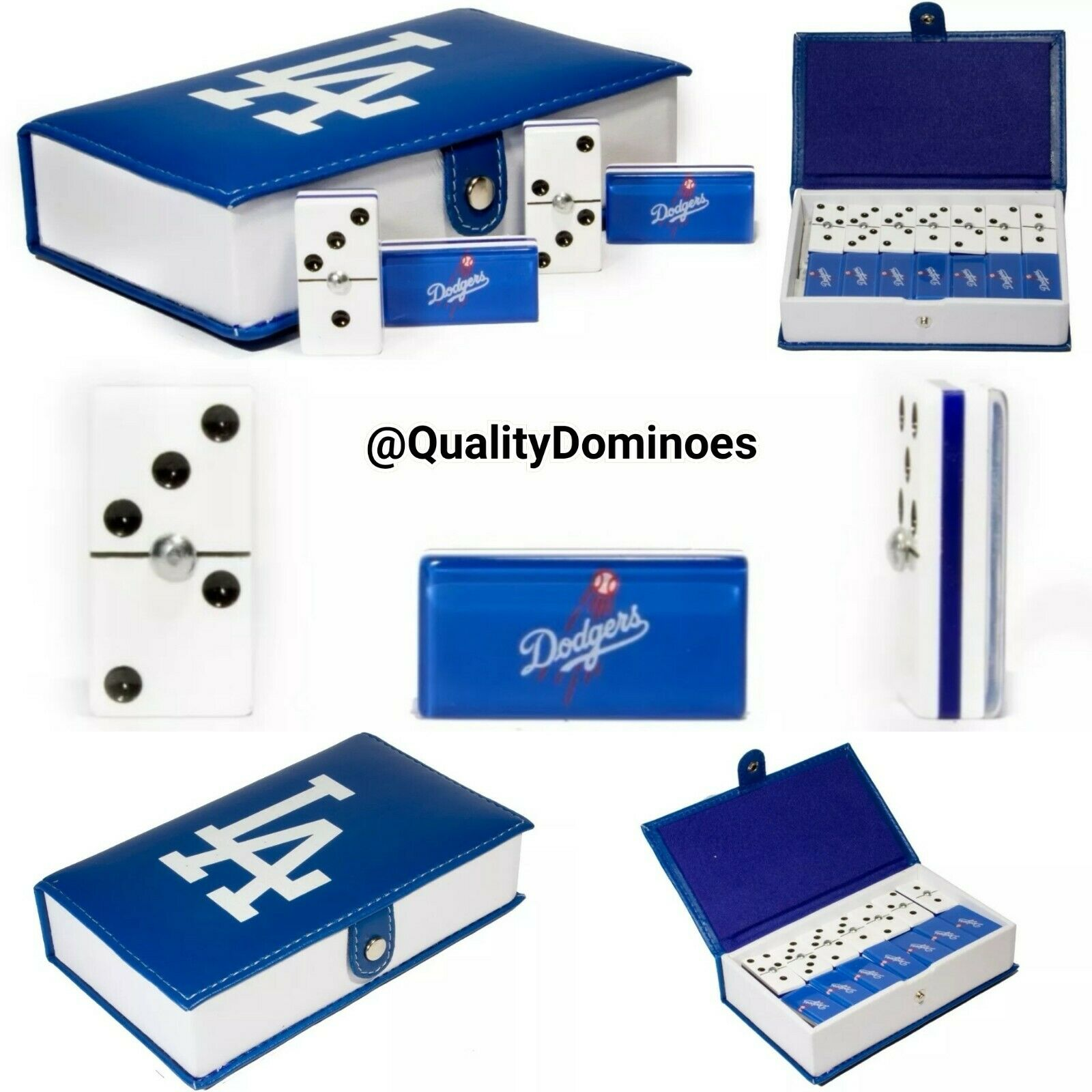 Los Angeles Dodgers Domino Game Set Double Six Dominoes Man Men Father Dad Gift