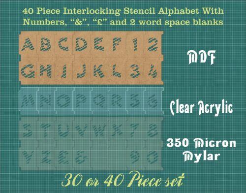 /& 40 40 mm a Rayas Enclavamiento Alfabeto Stencil Inc £ separadores y números ISA003