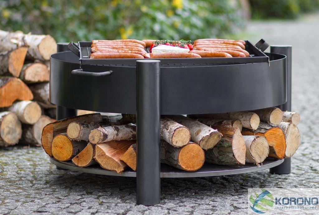 Pebetero  wood-Stock  con la parrilla jardín fuego de acero Ø 60 o Ø 70 cm