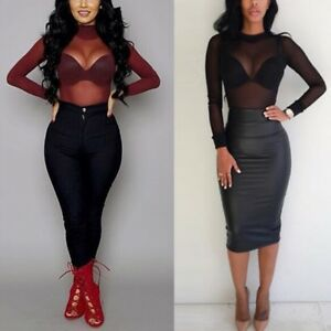 56188c68a1 Details about US Women s Hollow Sheer Mesh T-Shirt Long Sleeve Crop Top  Transparent Blouse HOT