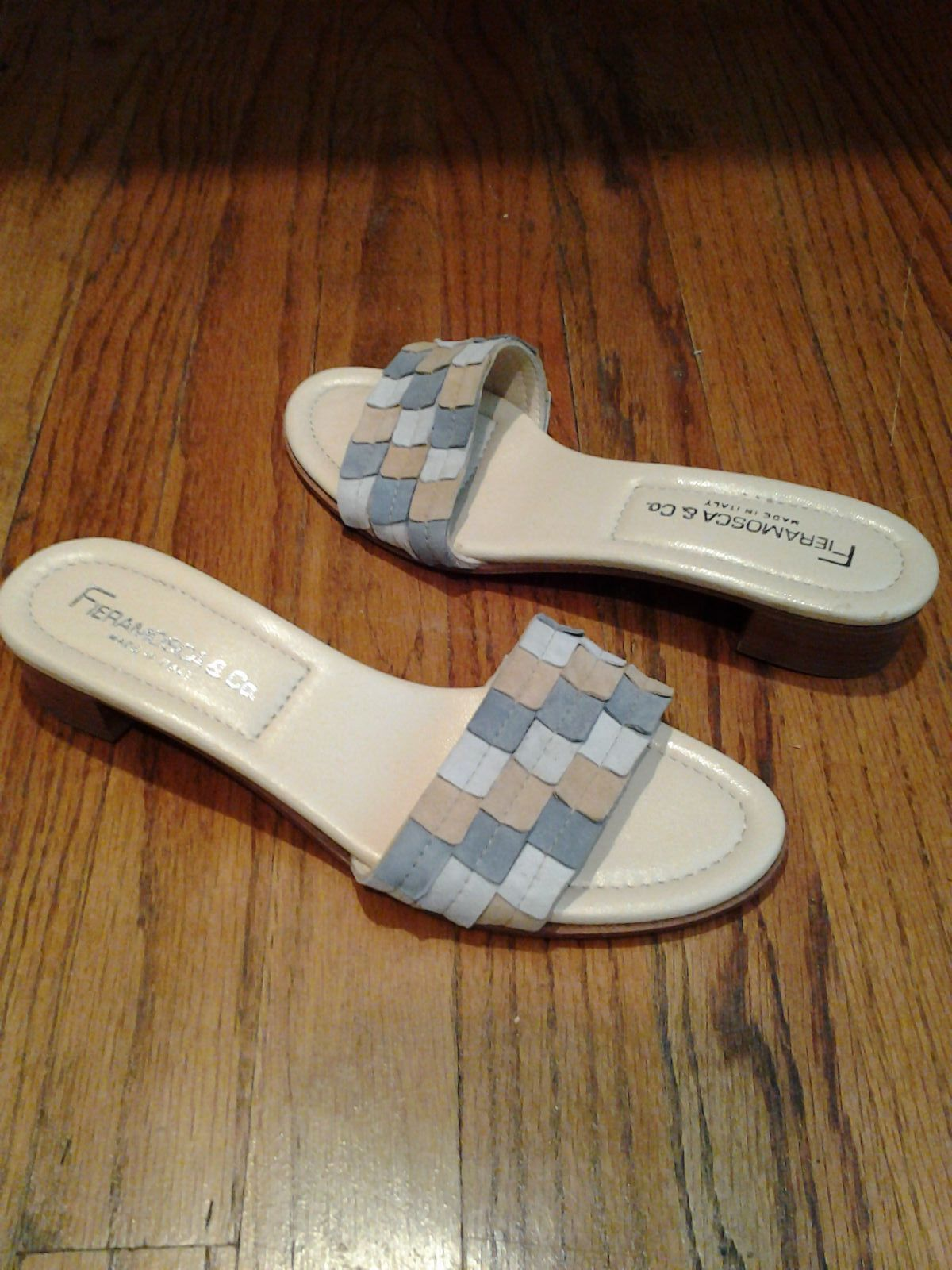 9 & Co. -Orlando Wedge Sandals , Size : 5 1/2  M[B] , color: White& Gold