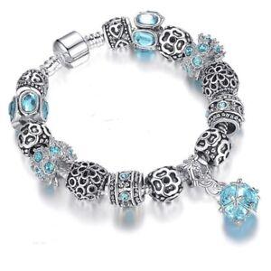 Details About 19 Cm Bracelet Charm Ball Swarovski Zirconia Turquoise Silver 925