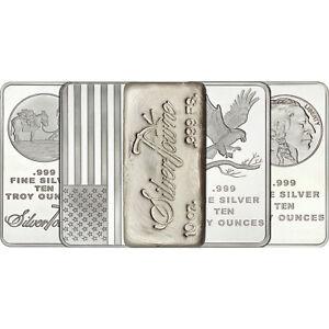 Mixed-Designs-10-oz-999-Silver-Bar-LOT-OF-5