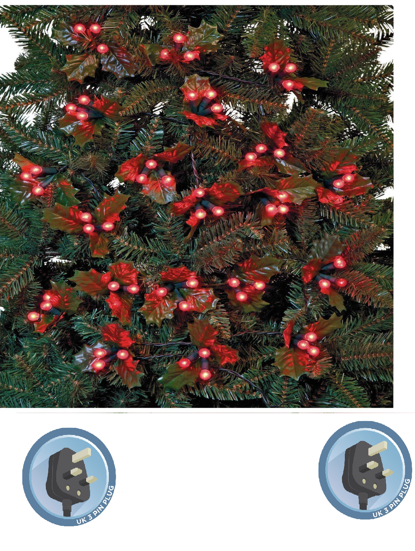 60 Holly & Berry rosso LED Albero Di Natale Lucine 4.5m