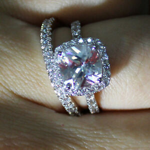 2.00 Ct Cushion Real Moissanite Engagement Band Set Solid 18K White Gold Size 8