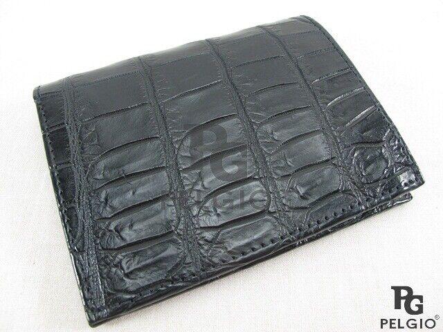 PELGIO Genuine Crocodile Belly Skin Leather Men's Luxury Bifold Wallet Black