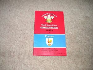 Wales v France Saturday 1st March 1986 Matchday Programme - <span itemprop=availableAtOrFrom>Cardiff, United Kingdom</span> - Wales v France Saturday 1st March 1986 Matchday Programme - Cardiff, United Kingdom
