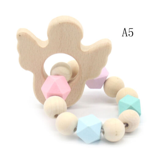 Baby Holz Beißring Tierform Perlen Kinderkrankheiten Spielzeug Pflege Armbän Fad