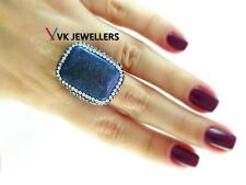 TURKISH HANDMADE 925 STERLING SILVER LAPIS DRUSY HAMMERED RING VK31
