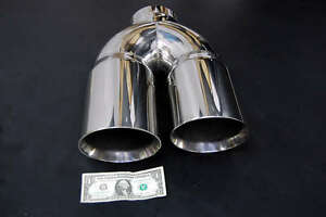 """5/"""" DUAL 6/"""" DIESEL EXHAUST TIP 5.00/"""" STAINLESS STEEL POLISHED CHROME MITER STACk"""