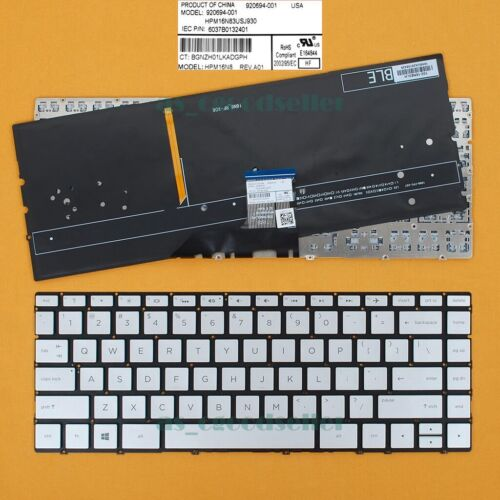 for HP Spectre 13-ae000 13t-ae000 13-ae011dx 13-ae012dx Keyboard BACKLIT Silver