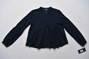 Polo Ralph Lauren Girls Top Shirt S 7 Navy Blue Cotton Blend Jersey Blouse NWT