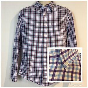 J-Crew-Mens-M-Slim-Fit-Shirt-Purple-Blue-Plaid-Cotton-Button-Long-Sleeve-Pocket