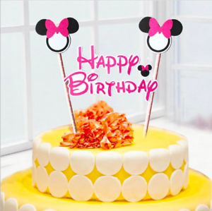 Awe Inspiring 2Pcs Mickey Minnie Mouse Cake Topper Cupcake Birthday Topper Flag Funny Birthday Cards Online Alyptdamsfinfo