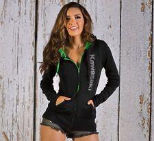 Kawasaki Women's Basic Rhinestud Hooded Sweatshirt - Size Large - Brand New
