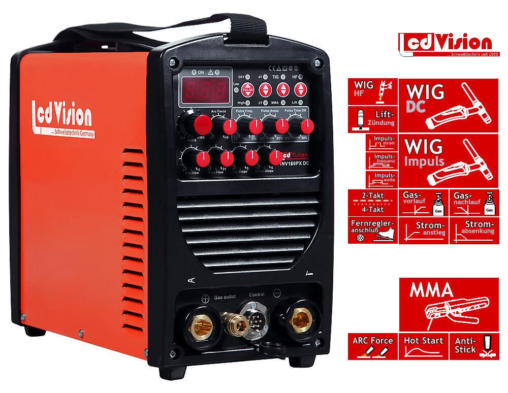 INV-180PX Pulse Inverter Schweißgerät DC WIG TIG E-Hand MMA 5-180A 230V HF 230V