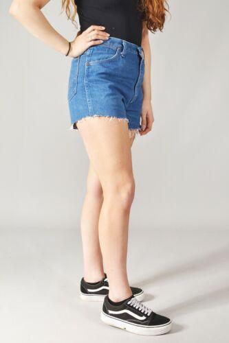 Distressed Wrangler Vintage Damen Denimshorts mit Hohem Bund 6 8 10 12 14 16 18