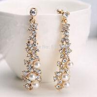 Lange Damen Ohrstecker Ohrringe mit Perlen u. Strass vergoldet Farbe Gold 11009