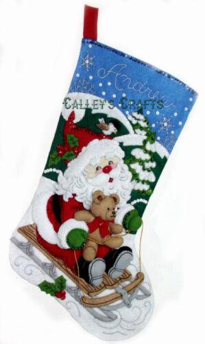 """Teddy Bear 2011 Bucilla Santa/'s Sled ~ 18/"""" Felt Christmas Stocking Kit #86279"""