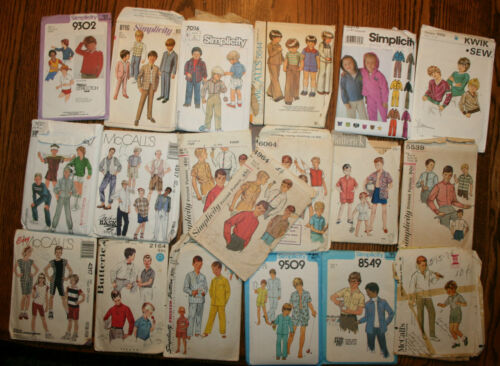 19 VINTAGE SEWING PATTERNS, CHILD CHILDREN BOYS YOUNG MEN 1950'S? 1970'S?
