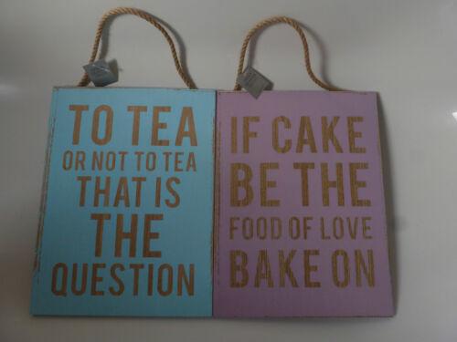 Gisela Graham Retro Tea//Cake Sentiment Wooden Plaque on Rope 35x26cm