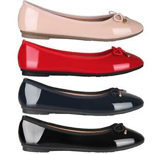 Womens-Ladies-Patent-Flat-Shoes-Ballerina-Ballet-Dolly-Court-Pumps-Slip-On-Bow