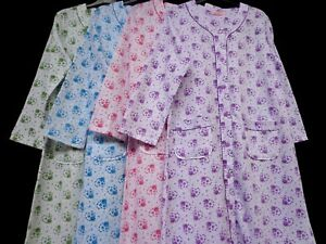 Image is loading COTTON-BUTTON-THROUGH-DRESSING-GOWN-FLEECE-BRUSHED-BACK- 0824266e8
