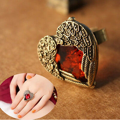 Fashion Women Lady Hot Sale Antique Big Heart Silver Rose Flower Ring Rings Gift