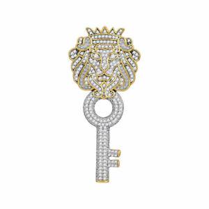 10k Gelbgold Herren Rund Diamant König Löwe Schlüssel Charm Anhänger 7/8 Cttw