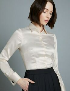 Hawes-amp-Curtis-Women-039-s-Formal-Long-Sleeve-Elegant-Double-Cuff-Plain-Satin-Shirt