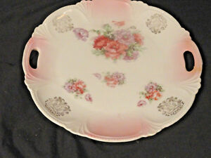 White-Porcelain-Cookie-Plate-Pink-flowers-Gold-Trim-Scalloped-Edges